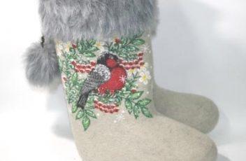 купить валенки с росписью Снегири