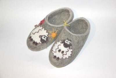 женские валяные тапочки с низкой пяткой овечка