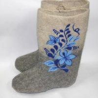 Валенки ручной валки синий цветок