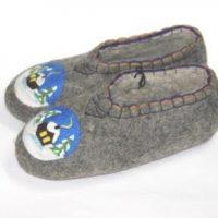 мужские валяные тапочки зимний домик