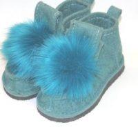 голубые валеши с помпоном на подошве
