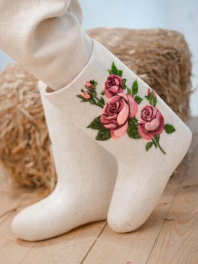 Валенки ручной валки Розы Любимой.