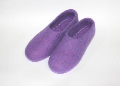 женские валяные тапочки фиолетовые