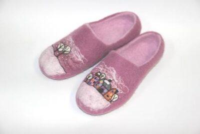 войлочные туфли городские домики