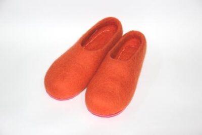 валяные тапочки оранжевые на подошве