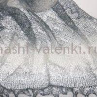 палантин пуховый радужный серый