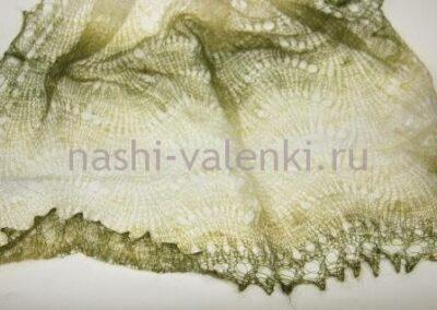 палантин пуховый радужный зеленый