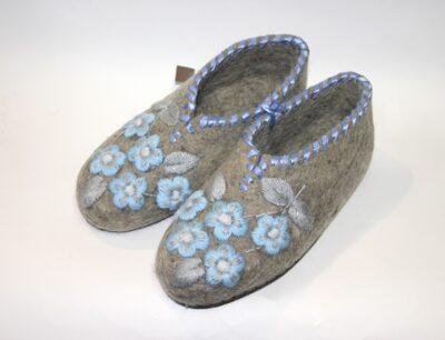 валяные тапочки с вышивкой голубая мечта