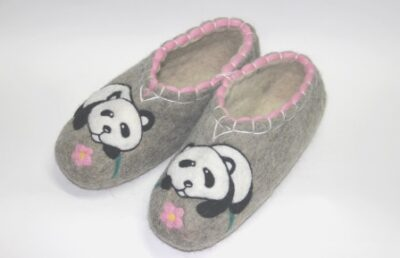 валяные тапочки ручной работы Панда