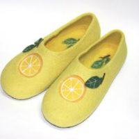 войлочные тапочки ручной работы лимоны