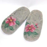 войлочные тапочки с открытой пяткой аленький цветок