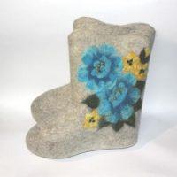 женские короткие валенки голубые розы