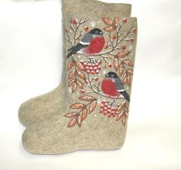 женские серые валенки с росписью снегири